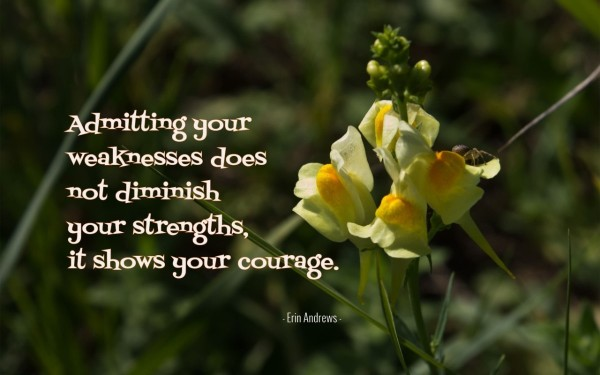 Admitting your weakness does not diminish your stregths it shows your courage