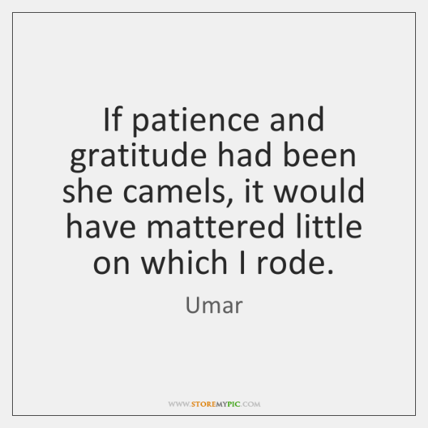If patience and gratitude had been she camels, it would have mattered ...