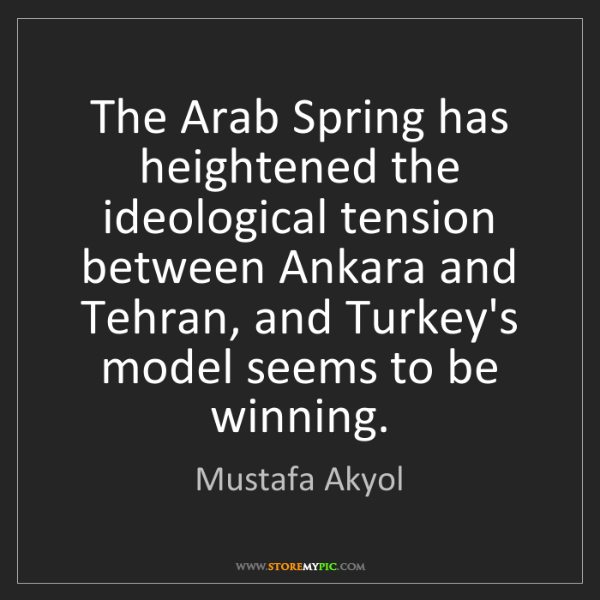 Mustafa Akyol: The Arab Spring has heightened the ideological tension...