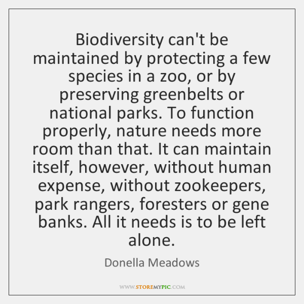 Biodiversity can't be maintained by protecting a few species in a zoo, ...