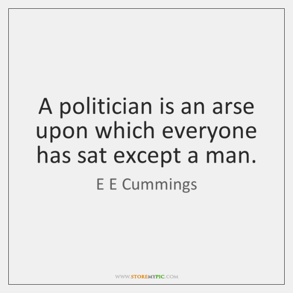 A politician is an arse upon which everyone has sat except a ...