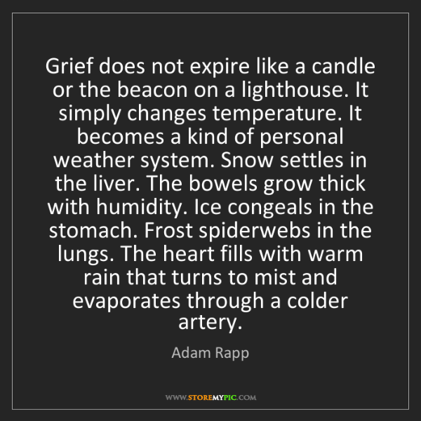 Adam Rapp: Grief does not expire like a candle or the beacon on...