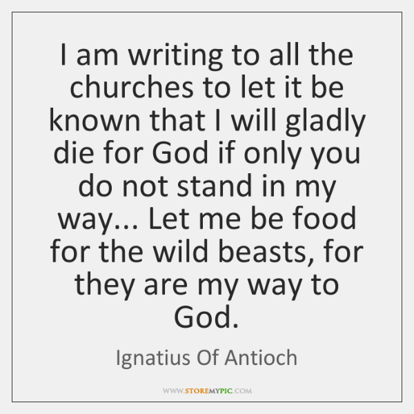 I am writing to all the churches to let it be known ...