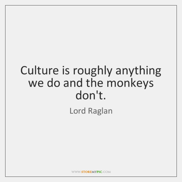 Culture is roughly anything we do and the monkeys don't.