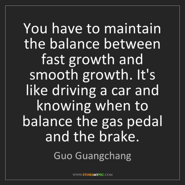 Guo Guangchang: You have to maintain the balance between fast growth...