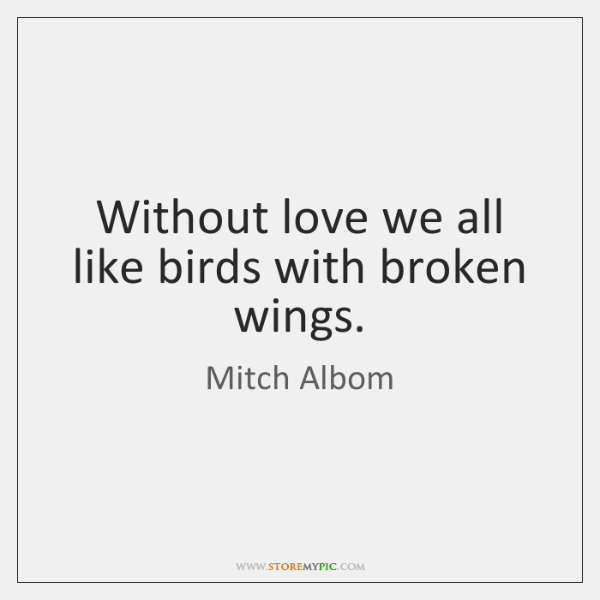 Without love we all like birds with broken wings.