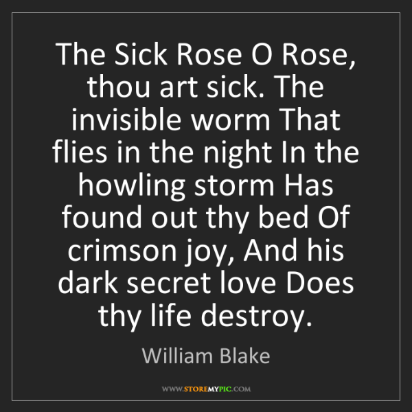 o rose thou art sick