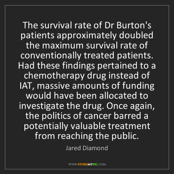 Jared Diamond: The survival rate of Dr Burton's patients approximately...