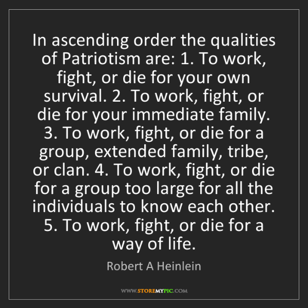 Robert A Heinlein: In ascending order the qualities of Patriotism are: 1....
