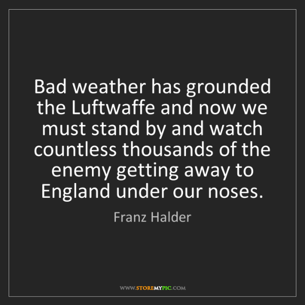 Franz Halder: Bad weather has grounded the Luftwaffe and now we must...