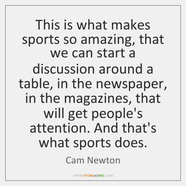 This is what makes sports so amazing, that we can start a ...
