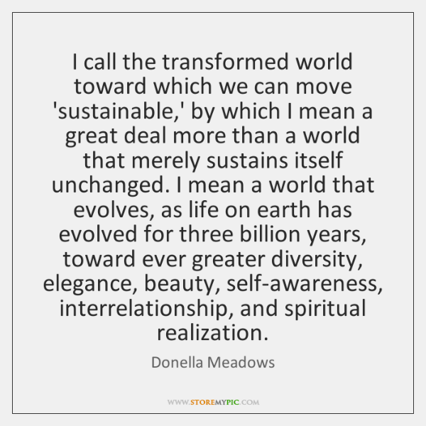 I call the transformed world toward which we can move 'sustainable,' ...