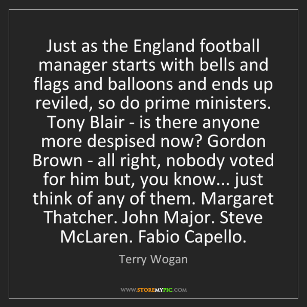 Terry Wogan: Just as the England football manager starts with bells...