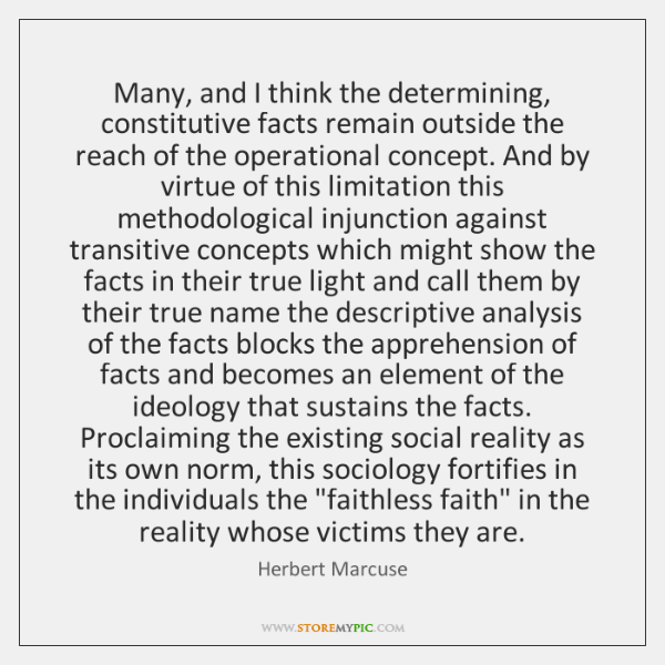 Many, and I think the determining, constitutive facts remain outside the reach ...