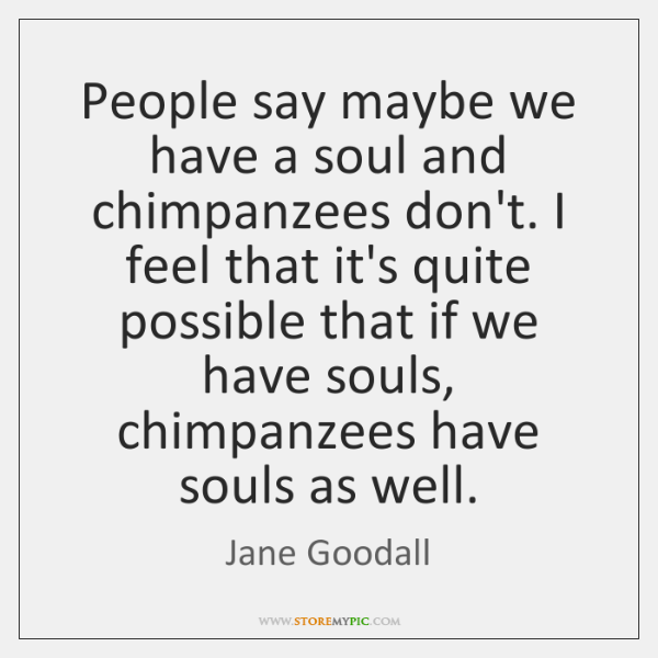 People say maybe we have a soul and chimpanzees don't. I feel ...