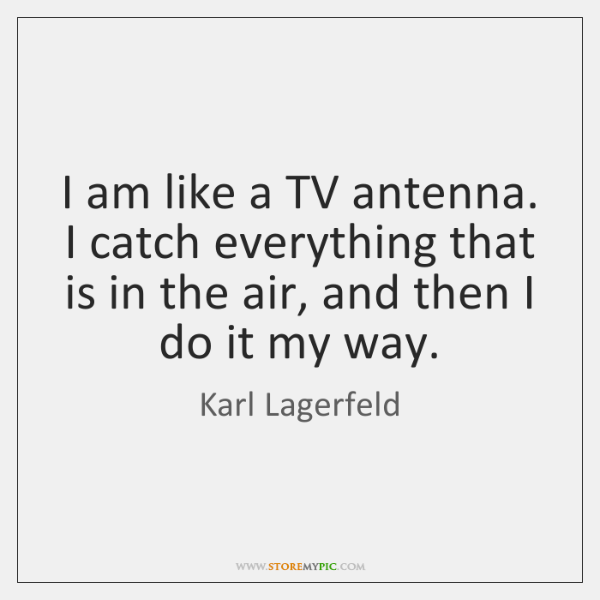 I am like a TV antenna. I catch everything that is in ...