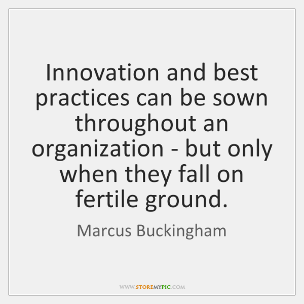 Innovation and best practices can be sown throughout an organization - but ...