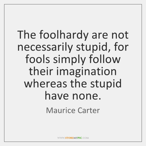 The foolhardy are not necessarily stupid, for fools simply follow their imagination ...