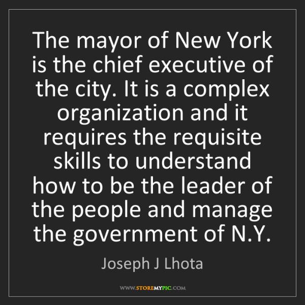 Joseph J Lhota: The mayor of New York is the chief executive of the city....