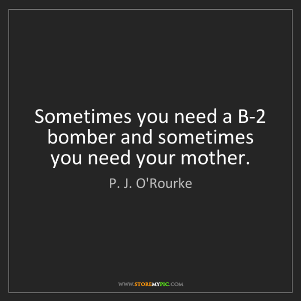 P. J. O'Rourke: Sometimes you need a B-2 bomber and sometimes you need...