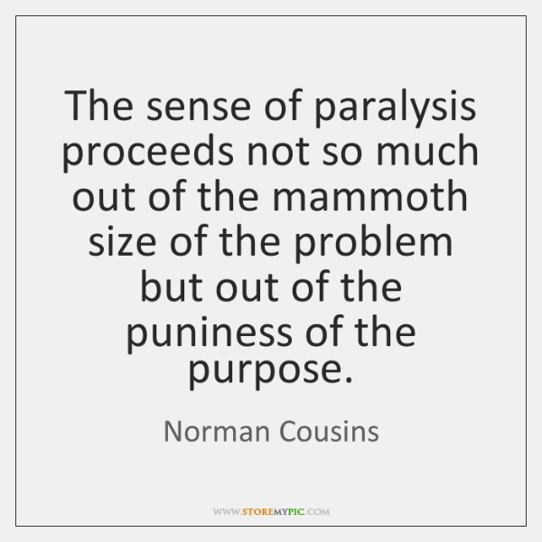 The sense of paralysis proceeds not so much out of the mammoth ...