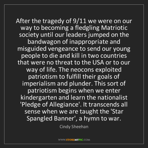 Cindy Sheehan: After the tragedy of 9/11 we were on our way to becoming...