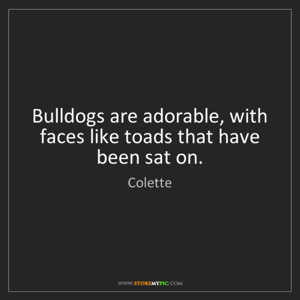 Colette: Bulldogs are adorable, with faces like toads that have...