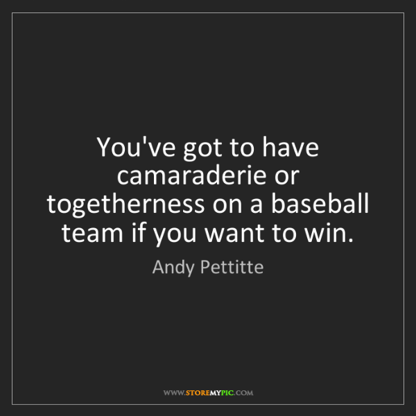 Andy Pettitte: You've got to have camaraderie or togetherness on a baseball...