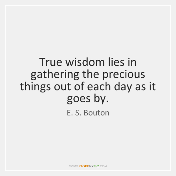 True wisdom lies in gathering the precious things out of each day ...