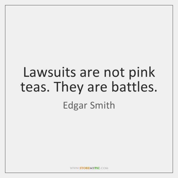 Lawsuits are not pink teas. They are battles.
