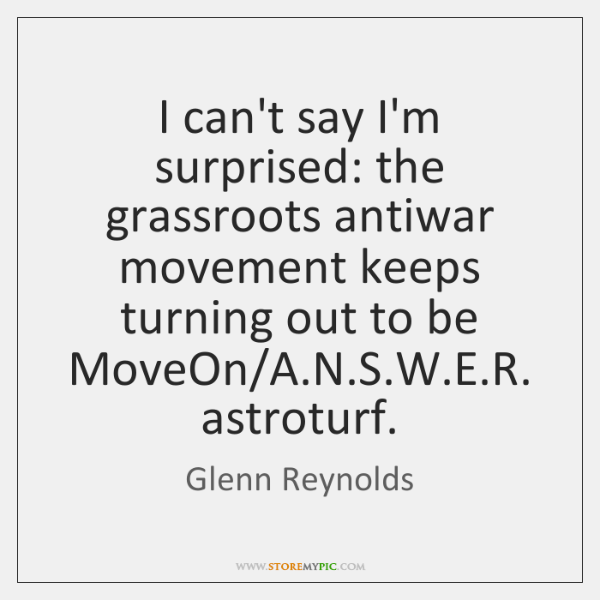 I can't say I'm surprised: the grassroots antiwar movement keeps turning out ...