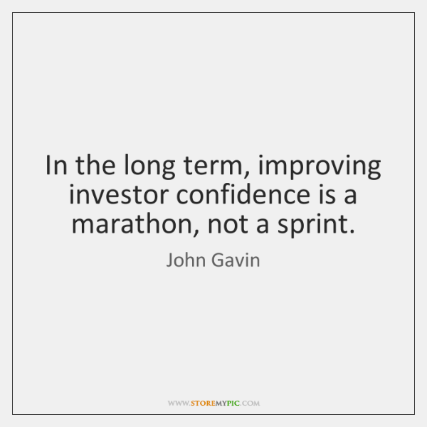 In the long term, improving investor confidence is a marathon, not a ...