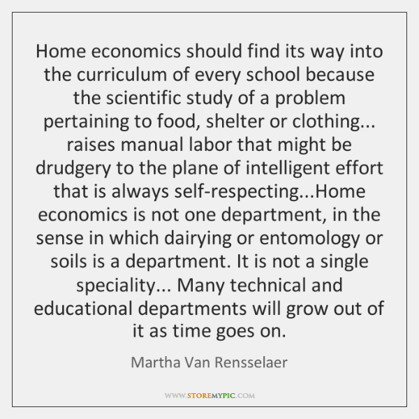 Home economics should find its way into the curriculum of every school ...