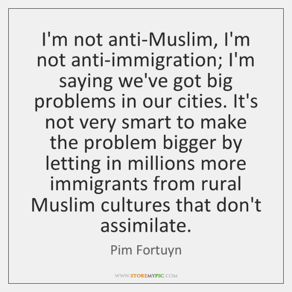 I'm not anti-Muslim, I'm not anti-immigration; I'm saying we've got big problems ...
