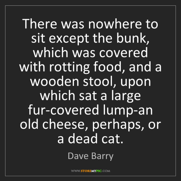 Dave Barry: There was nowhere to sit except the bunk, which was covered...
