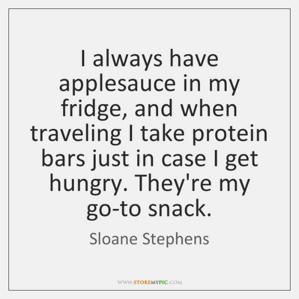 I always have applesauce in my fridge, and when traveling I take ...