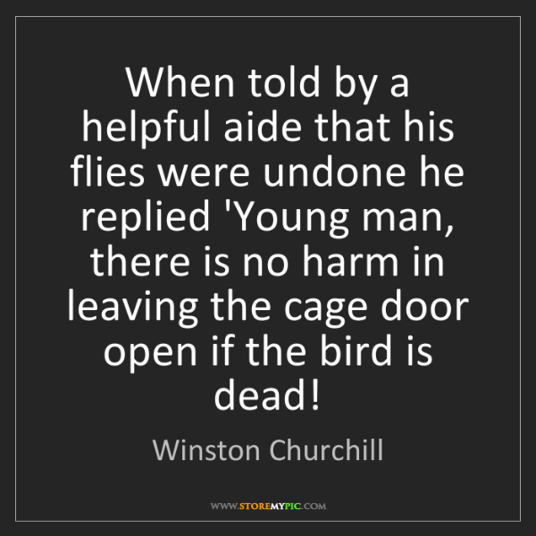 Winston Churchill: When told by a helpful aide that his flies were undone...