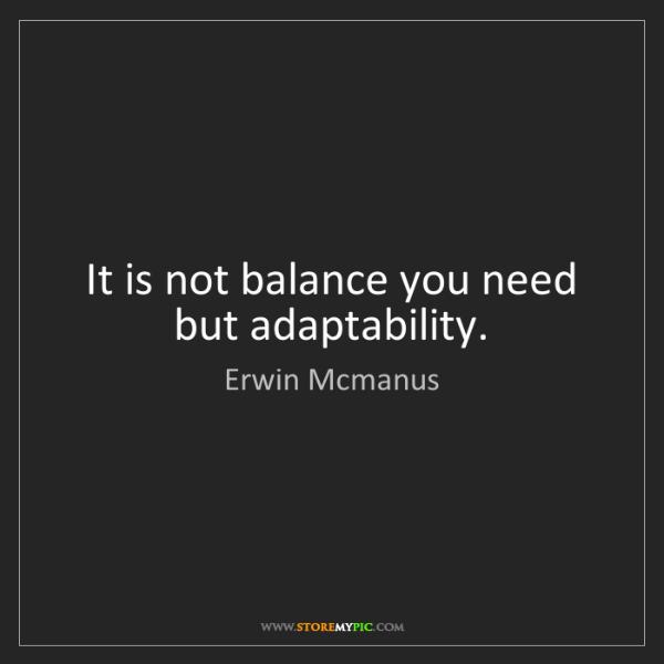 Erwin Mcmanus: It is not balance you need but adaptability.