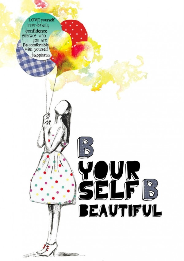 Be your self be beautiful girl with colorful balloons picture