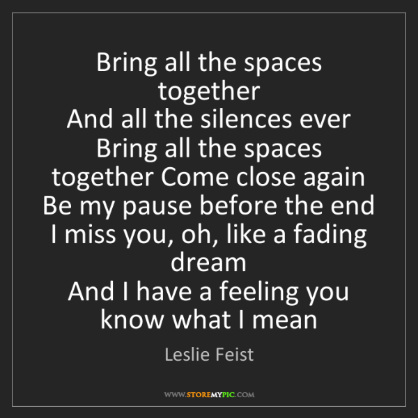 Leslie Feist: Bring all the spaces together   And all the silences...