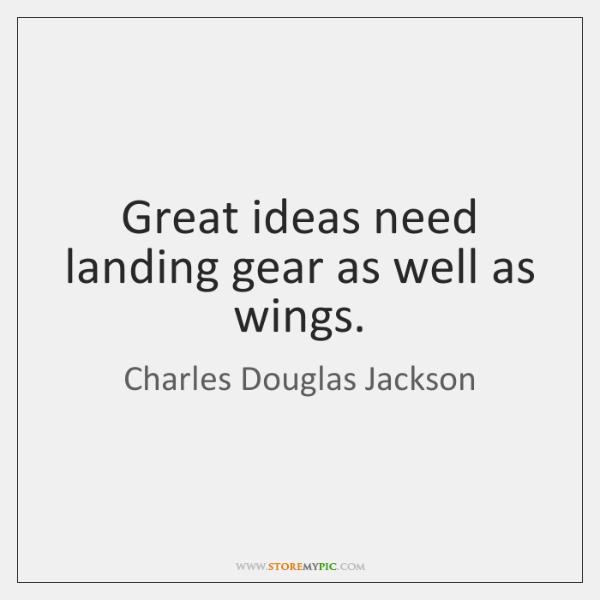 Great ideas need landing gear as well as wings.