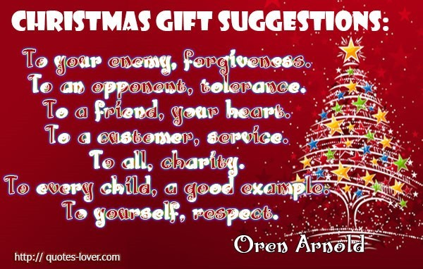 Christmas gift suggestions to your oneway forgiveness to an opponent ...