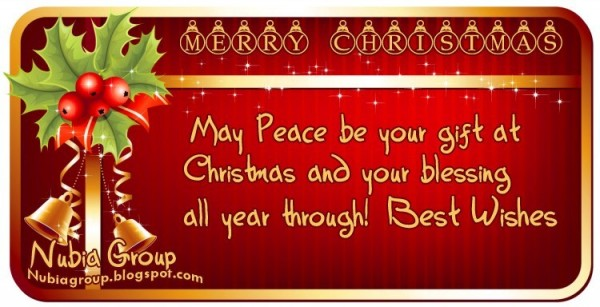 May peace be your gift at chirstmas and your blessing all year throug best wishes