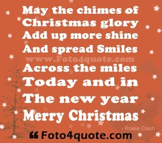 May the chimes of christmas glory add up more shine and spread smiles across the mil