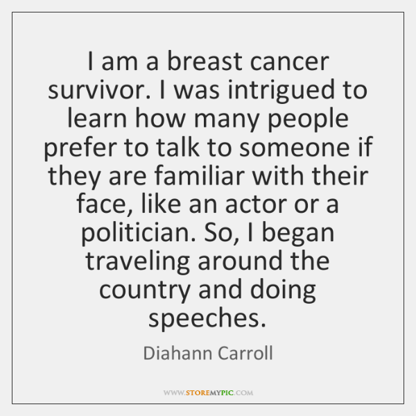I am a breast cancer survivor. I was intrigued to learn how ...