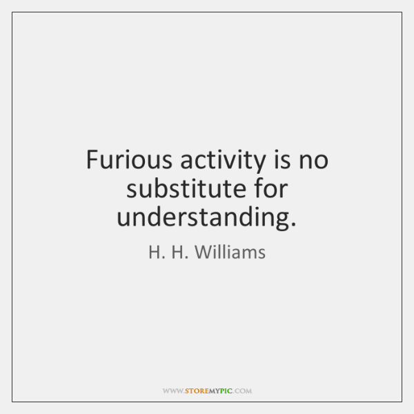 Furious activity is no substitute for understanding.