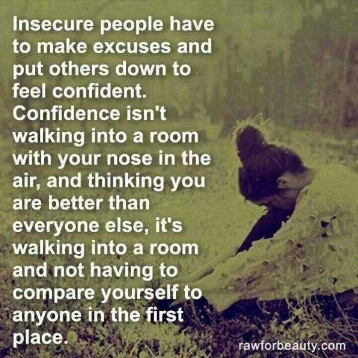 Insecure People Have To Make Excuses And Put Others Down To Feel