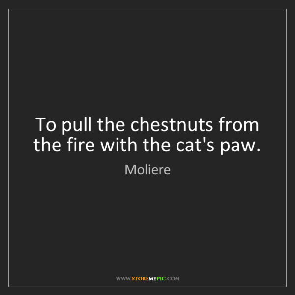 Moliere: To pull the chestnuts from the fire with the cat's paw.