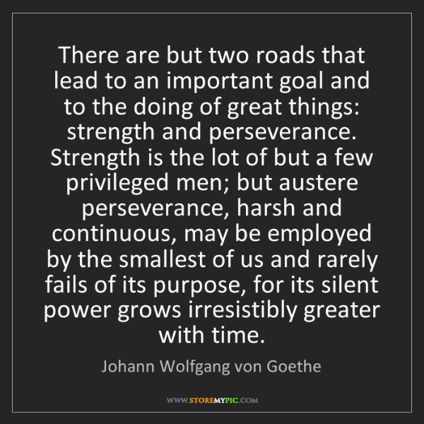 Johann Wolfgang von Goethe: There are but two roads that lead to an important goal...