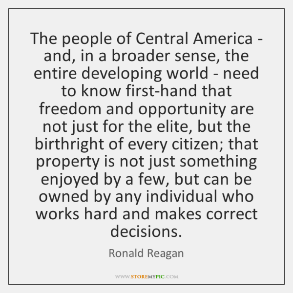 The people of Central America - and, in a broader sense, the ...
